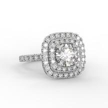 Dupla halo gyémánt gyűrű fotorealisztikus terve 2. nézet