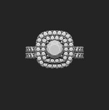 Dupla halo gyémánt gyűrű 3D terve 1. nézet