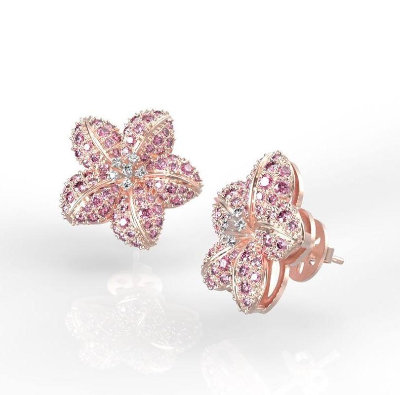 Rózsaszín zafíros virág fülbevaló fotorealisztikus terve