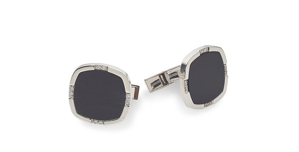 Piero Milano fehérarany mandzsettagomb fekete ónix drágakővel és gyémántokkal