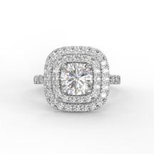 Dupla halo gyémánt gyűrű fotorealisztikus terve 1. nézet