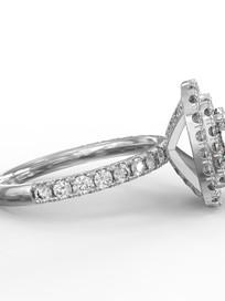 Dupla halo gyémánt gyűrű fotrealisztikus terve 3. nézet