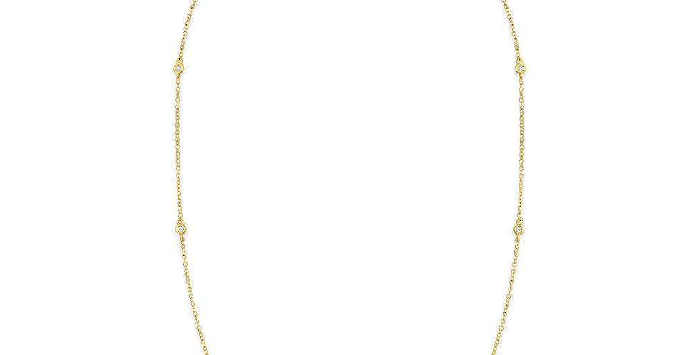 Sárgaarany nyaklánc hét darab gyémánttal ékesítve
