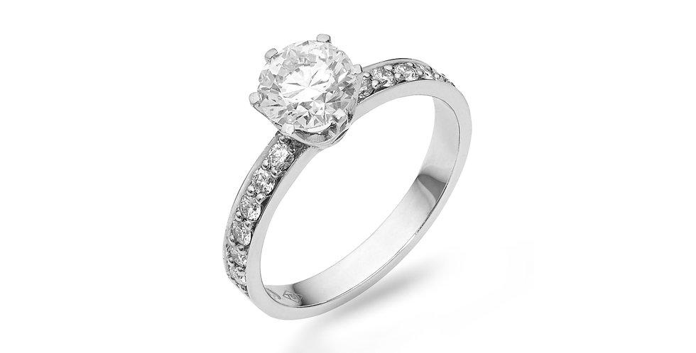 Fehérarany hatkarmos szoliter gyűrű gyémántokkal a gyűrűsínben