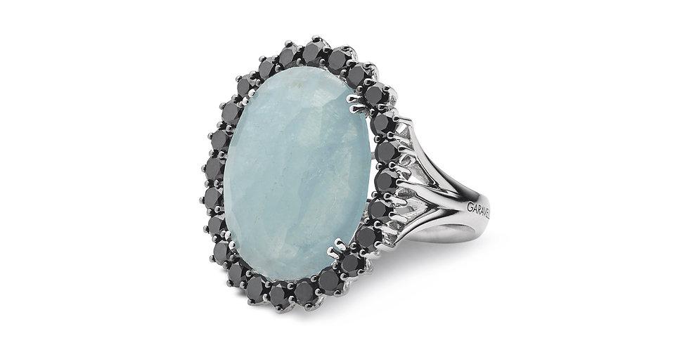 Garavelli fehérarany koktélgyűrű akvamarinnal és fekete gyémánttal