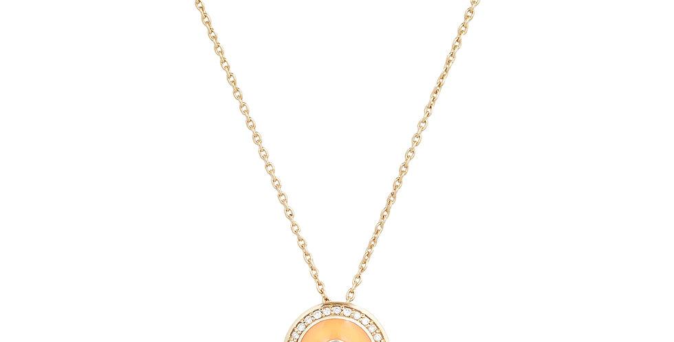 Rózsaarany medál narancsszínű tűzzománccal, kék zafírral és gyémántokkal