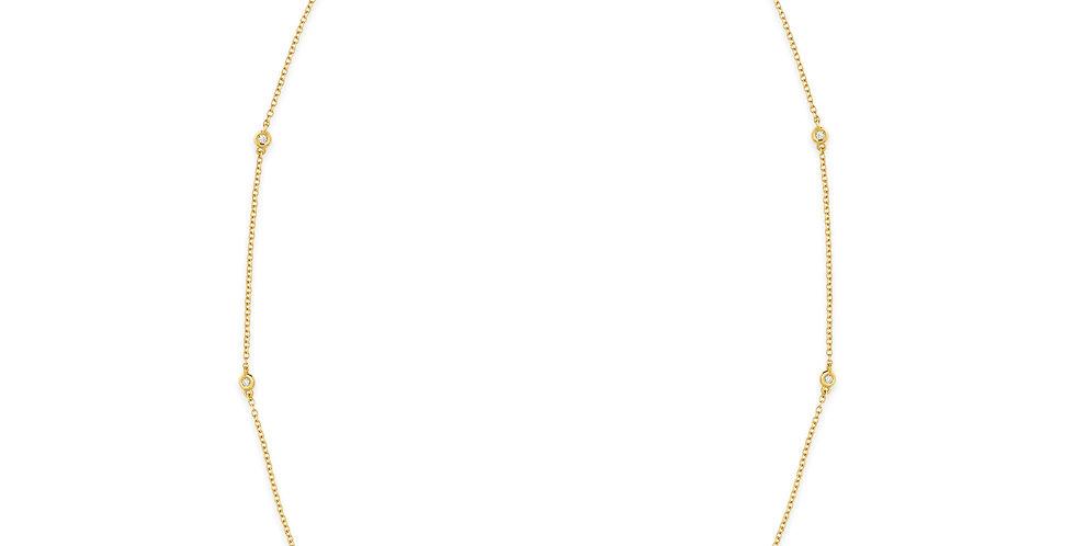 Rózsaarany nyaklánc hét darab gyémánttal ékesítve
