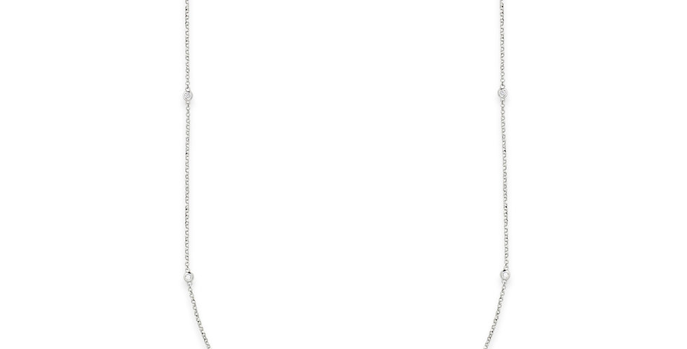 Fehérarany vékony nyaklánc sorban foglalt kis gyémántokkal