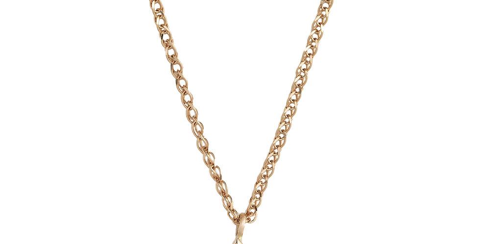 Rózsaarany nyaklánc 0,12 ct gyémánt medállal négykarmos foglalatban