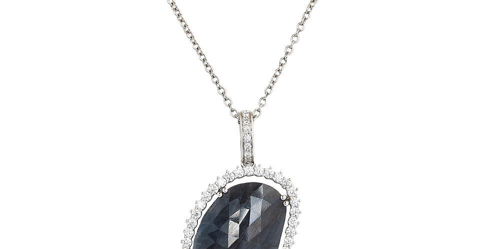 Garavelli ehérarany nyaklánc fazettált kékesszürke zafírral és gyémántokkal