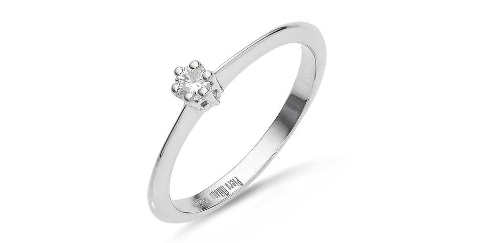 Fehérarany kecses gyémánt gyűrű hatkarmos foglalattal