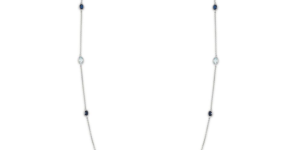 Garavelli 18kt-os fehérarany hosszú nyaklánc kék zafírral és kék topázzal