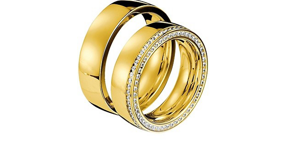 Exkluzív sárgaarany jegygyűrű duplasoros gyémántfoglalattal