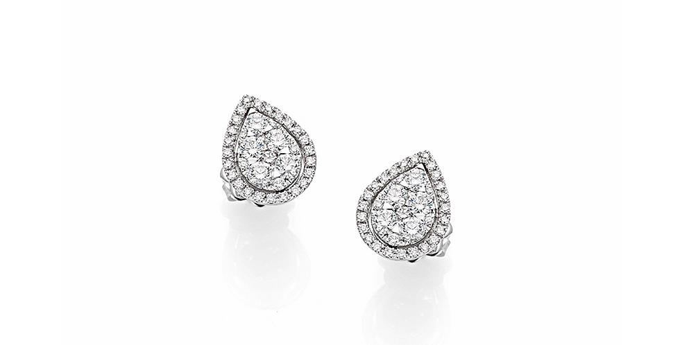 Fehérarany csepp alakú, stekkeres(bedugós) gyémánt fülbevaló.