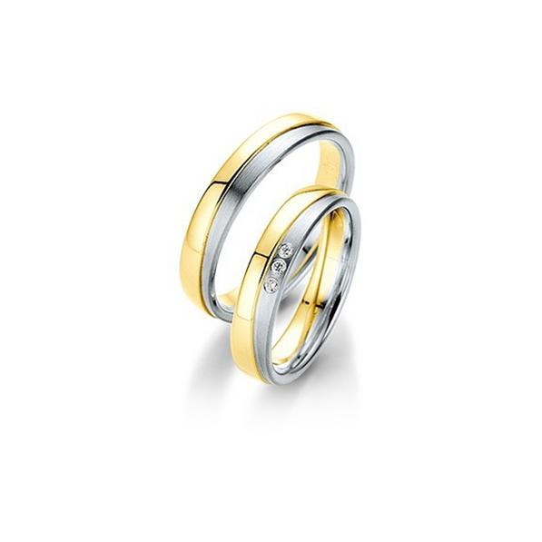 Fehérarany és sárgaarany bicolor karikagyűrű 3D felülettel