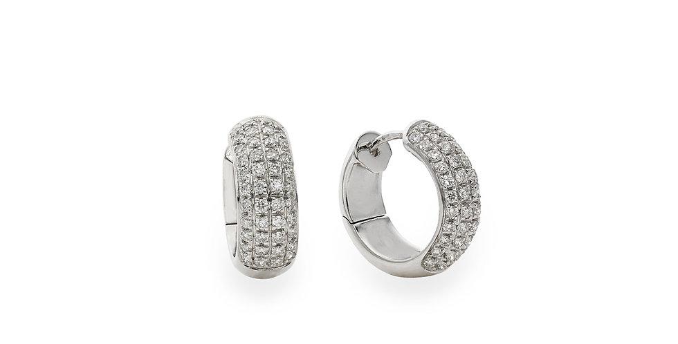 Piero Milano 18kt-os fehérarany karika fülbevaló pavé foglalatú gyémántokkal