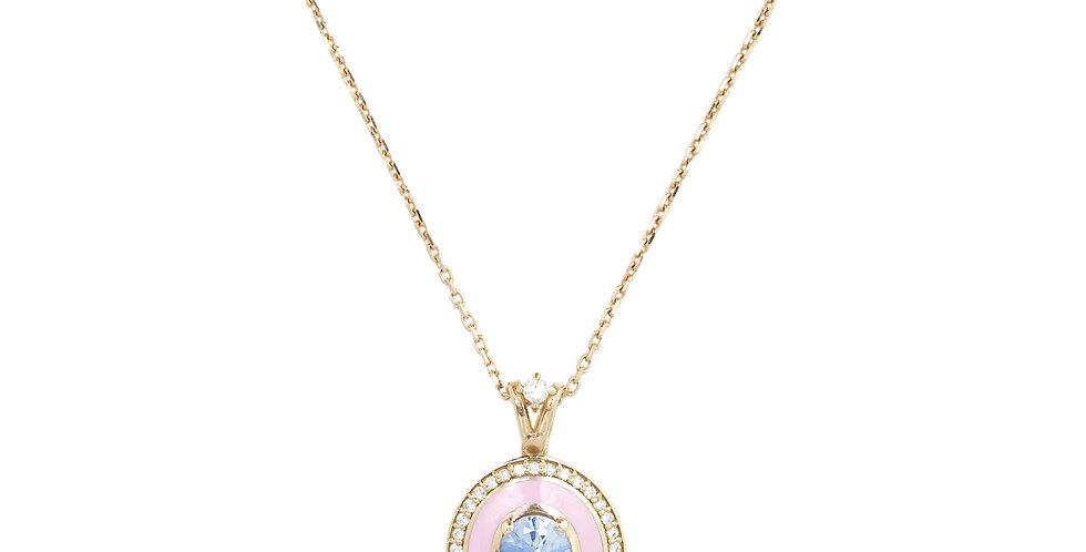 Rózsaarany medál rózsaszínű tűzzománccal, világoskék zafírral és gyémántokkal