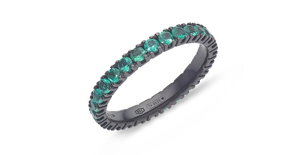 """Fekete ródiumos """"eternity"""" arany gyűrű smaragdokkal"""