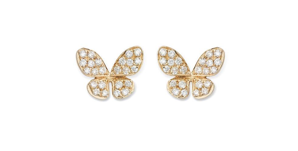 Piero Milano 18kt-os rózsaarany pillangó fülbevaló pavé foglalatú gyémántokkal