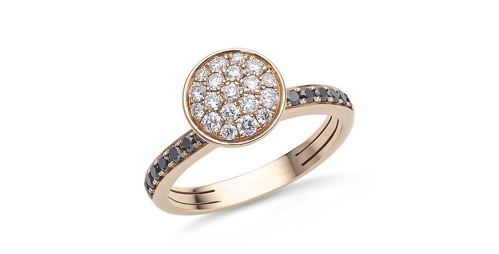 Hulchi Belluni rózsaarany gyűrű fekete és fehér gyémántokkal