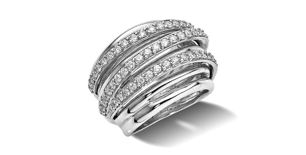 Fehérarany többsoros gyémánt gyűrű