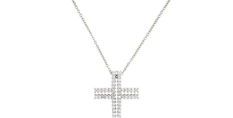 Garavelli 18kt-os fehérarany nyaklánc gyémánt kereszt medállal