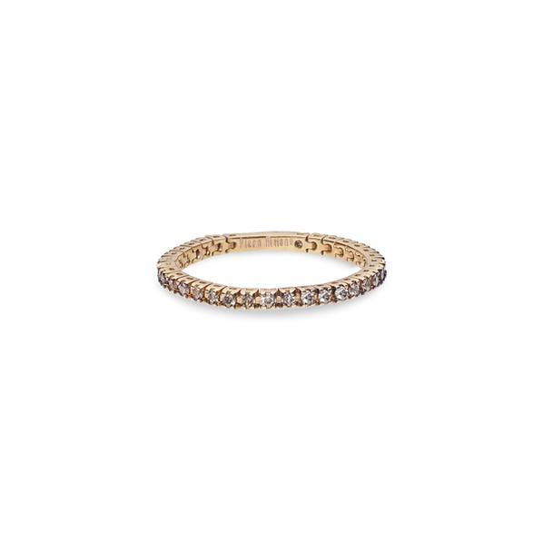 Piero Milano flexibilis karikagyűrű 18kt-os rózsaaranyból, pezsgőszínű gyémántokkal