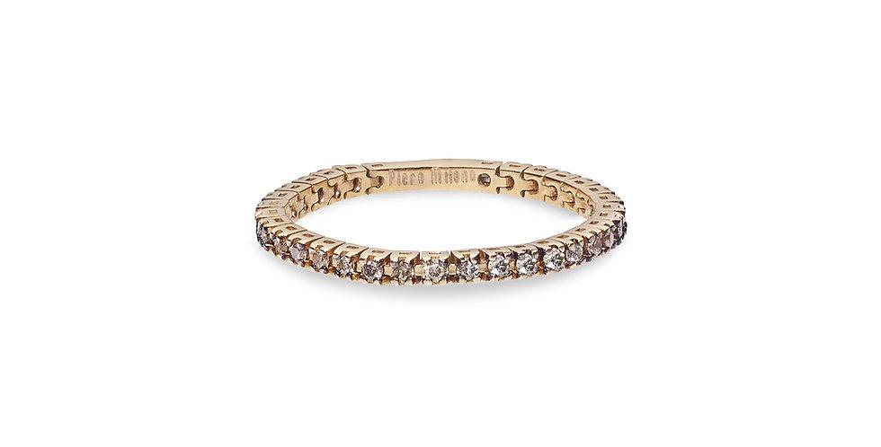 """Rózsaarany """"eternity"""" körben köves barna gyémántos flexibilis gyűrű"""