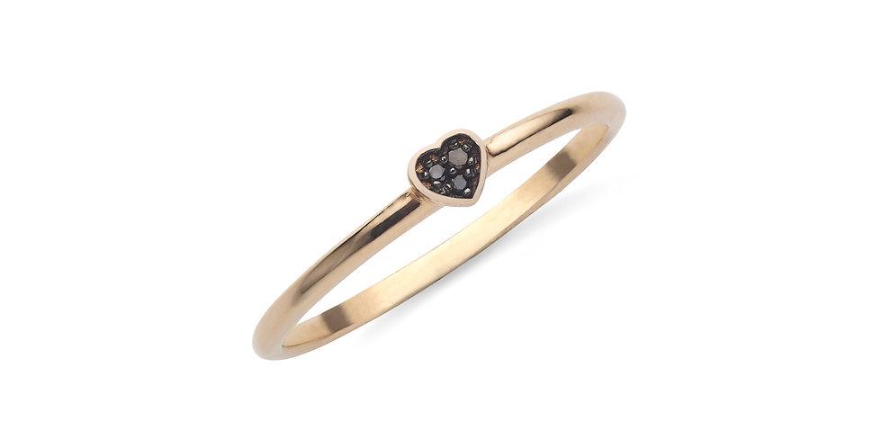 Rózsaarany, fekete gyémánttal díszített szívecskés gyűrű