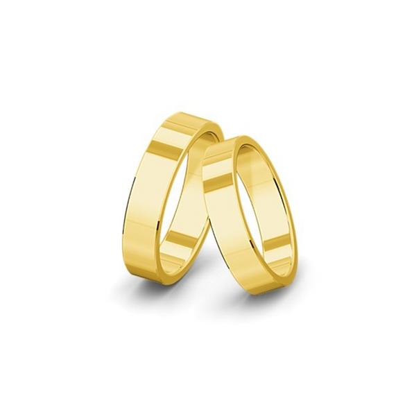 Kívül-belül egyenes felületű sárgaarany jegygyűrűpár (5,5 mm)