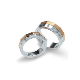 Garavelli szögletes karikagyűrűpár körben gyémántokkal