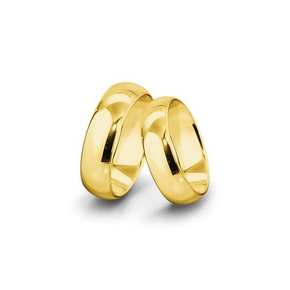 Kívül-belül erősen lekerekített felületű sárgaarany jegygyűrűpár (7 mm)