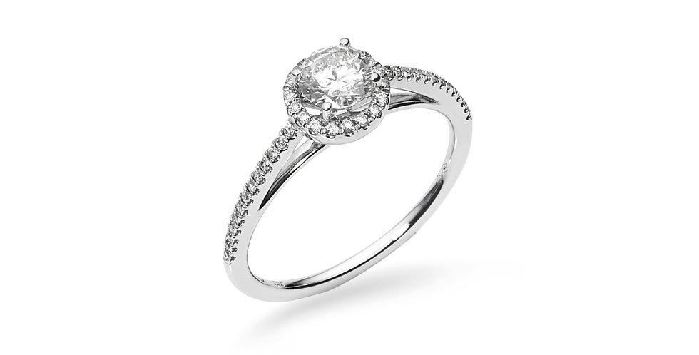 """Fehérarany """"halo"""" jellegű gyémánt gyűrű"""