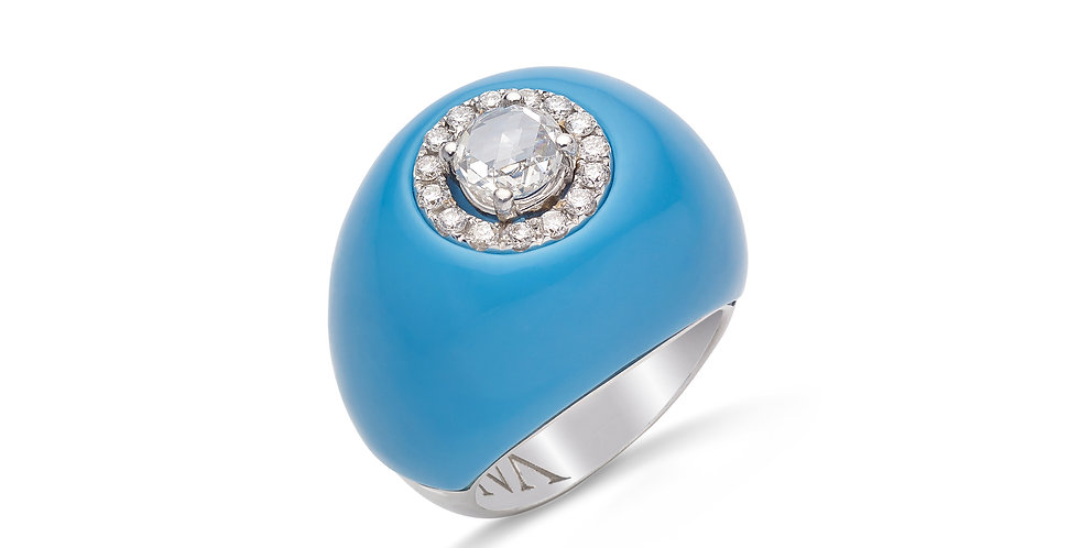 Fehérarany egyedi koktélgyűrű türkiz borítással és gyémánttal