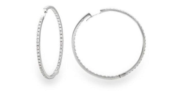 Garavelli fehérarany karika fülbevaló kívül-belül gyémánttal