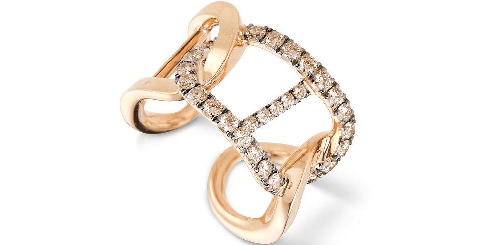 Cervera rózsaarany dizájn gyűrű pezsgőszínű gyémántokkal
