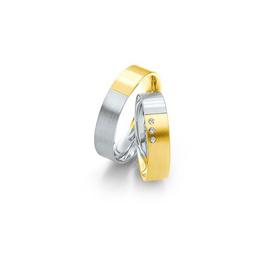 Fehér és sárgaarany bicolor jegygyűrűpár 3 db gyémánttal