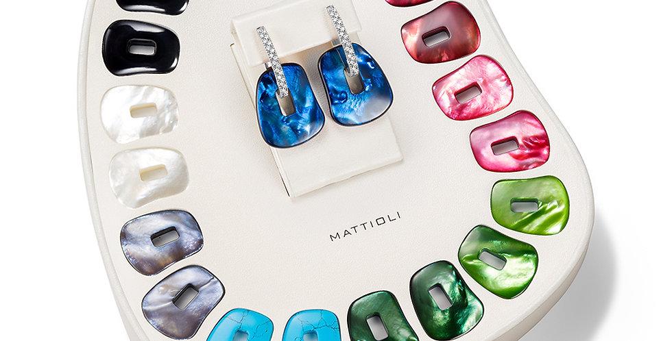 """Mattioli fehérarany """"Puzzle"""" fülbevaló szett 11 színű változatban, medium méret"""