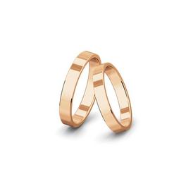Kívül-belül egyenes felületű rozéarany jegygyűrűpár (4 mm)