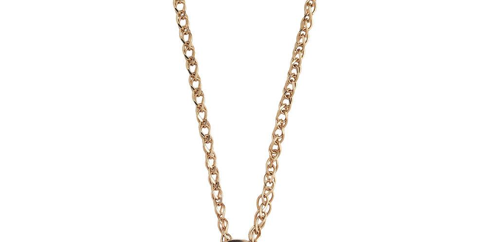 Rózsaarany nyaklánc 0,10 ct gyémánt medállal zárt foglalatban