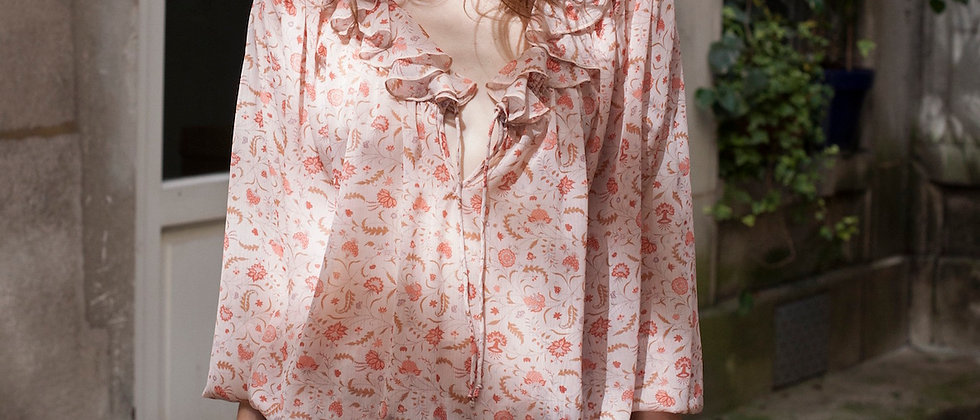 Sheer Printed Chiffon Top