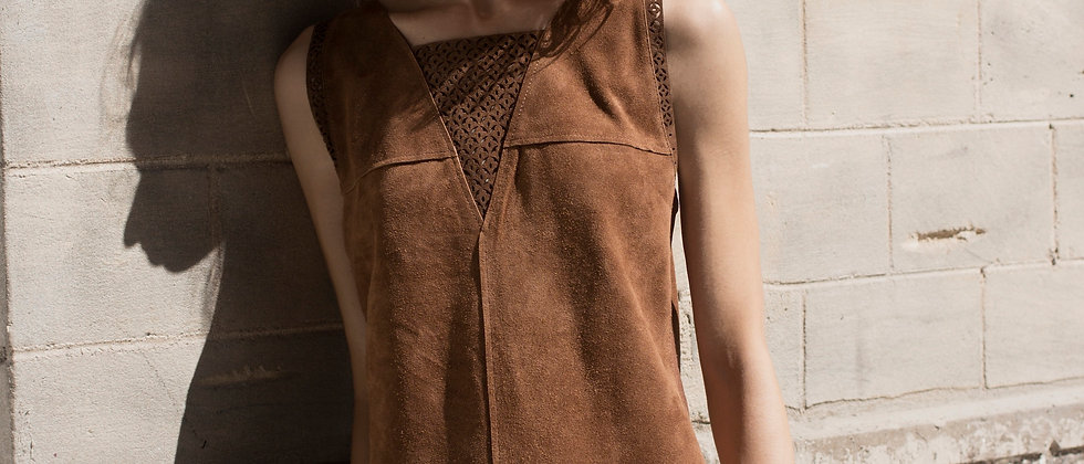 Laser Cut Leather Suede Dress