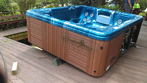 old hot tub lifted out of deck opening using our airbag