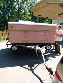 Hotsprings spa loaded on trailer