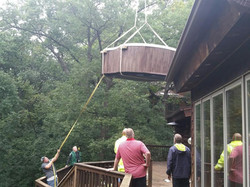 Hot Tub Delivery to Deck by Crane