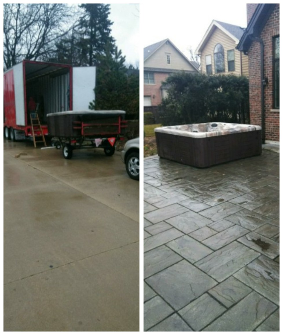 Hot tub move off moving truck
