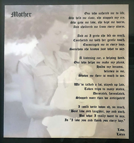 Loren's poem to her mother Phyllis