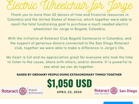 San Diego Rotaract partners with Club Centenario Bogotá to provide wheelchair to Jorge