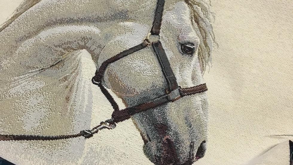 Box  SCOTT complète tapisserie cheval blanc, simili croco camel et bleu canard