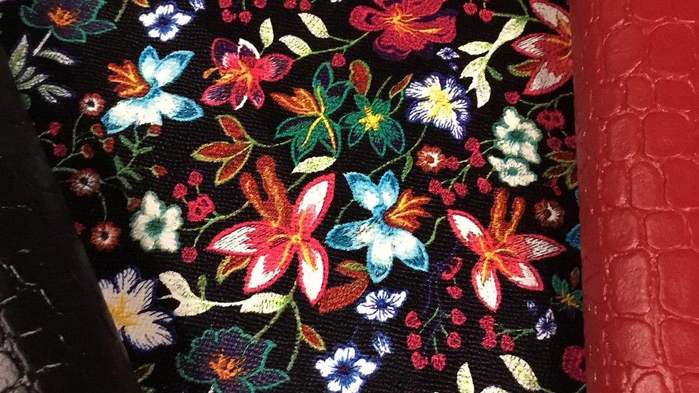 Box  SCOTT complète simili imprimé fleurs , simili croco noir ; rouge